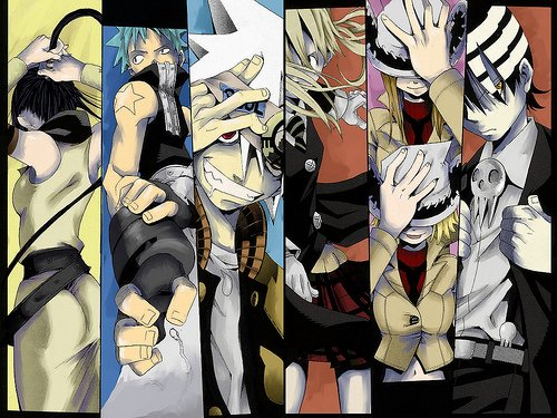 - zleva: Tsubaki, Black Star, Soul, Maka, Liz a Patty, Death The Kid